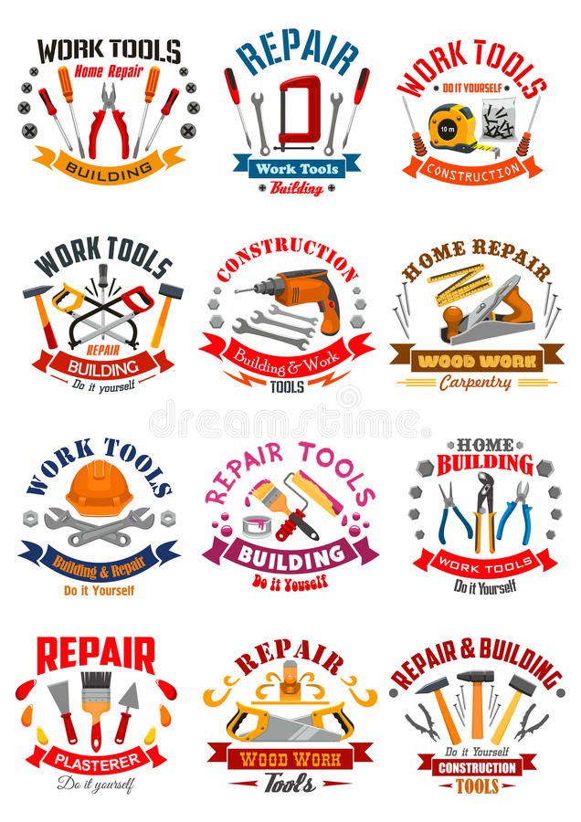 Reparieren Sie Bauarbeitwerkzeug-Vektorikonen stock abbildung