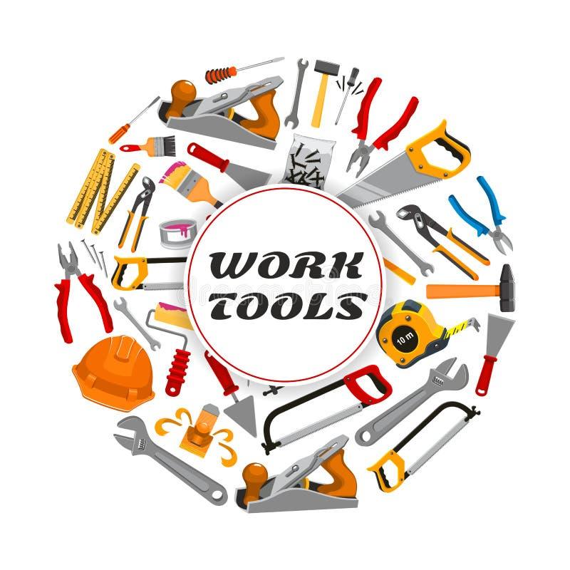 Reparieren Sie Bauarbeitwerkzeug-Vektorplakat vektor abbildung