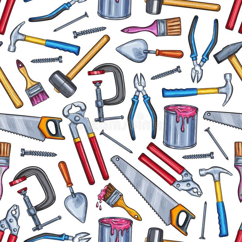Reparieren Sie nahtlosen Musterhintergrund des Arbeitswerkzeugs stock abbildung