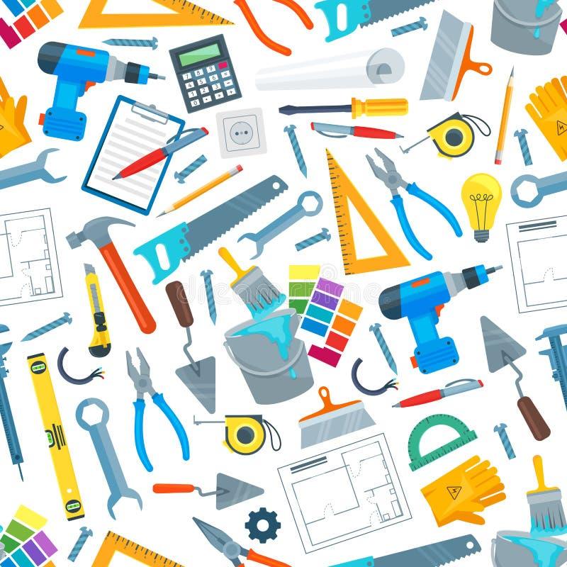 Reparieren Sie nahtloses Muster des Werkzeugs und der Ausrüstung lizenzfreie abbildung
