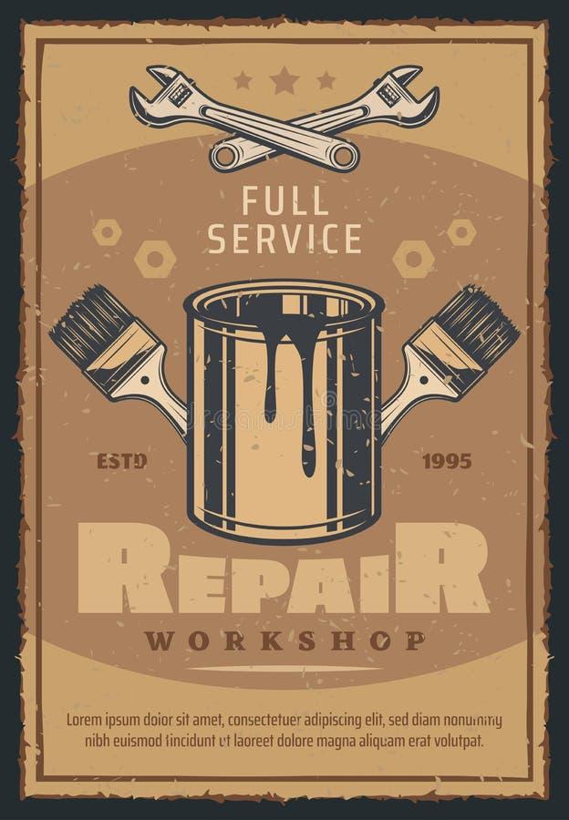 Reparieren Sie Werkstatt- oder Autodienstausweis mit Arbeitswerkzeug vektor abbildung