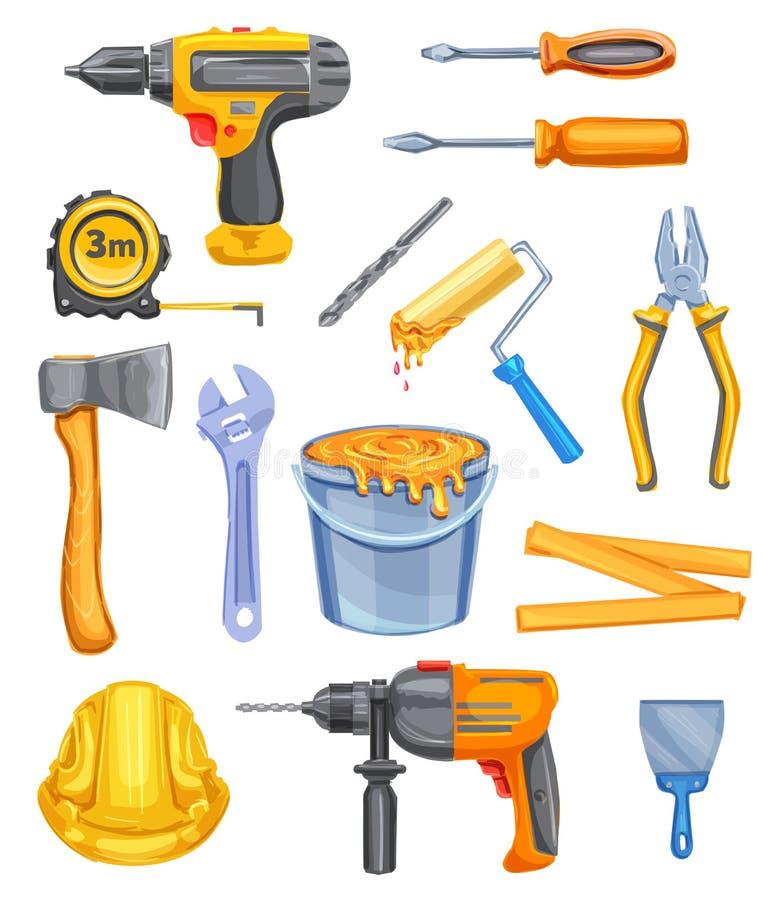 Reparieren Sie Werkzeug- und Ausrüstungsaquarellikonendesign vektor abbildung