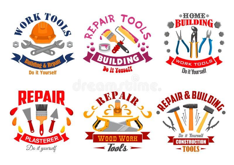 Reparieren Sie Werkzeug- und Gebäudeinstrumentausweissatz lizenzfreie abbildung