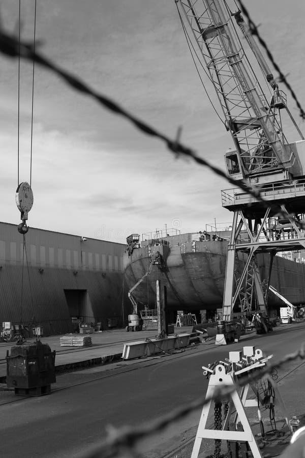 Repariert laufendes an einem Werftarbeitsstandort in Portland, Oregon stockfoto