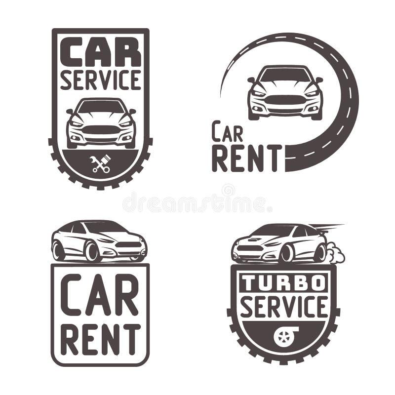 Reparo automotivo Logo Template Design Vetora do aluguel do carro ilustração stock