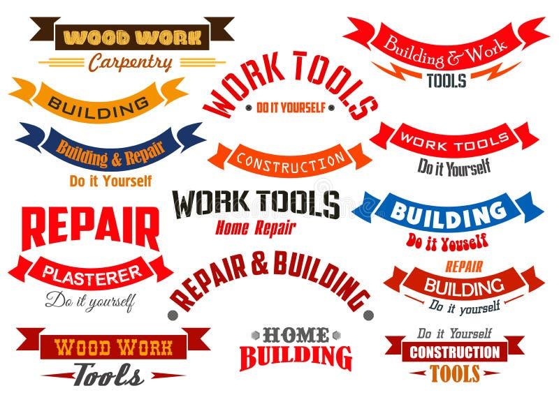 Reparo, construção, ícones do vetor da carpintaria ajustados ilustração do vetor