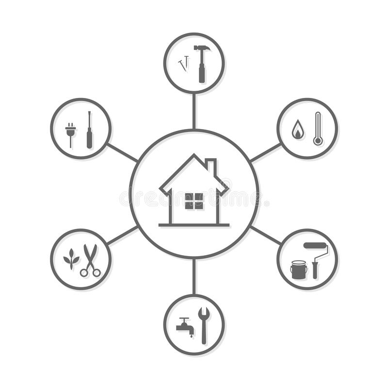 Reparo da casa e conceito de manutenção ilustração do vetor