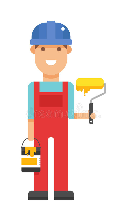 Reparo da manutenção do profissional do construtor do recruta e do trabalhador do vetor ilustração do vetor