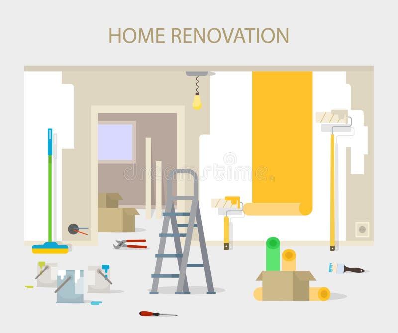 Reparo da sala na casa Renovação interior no apartamento e na casa ilustração do vetor