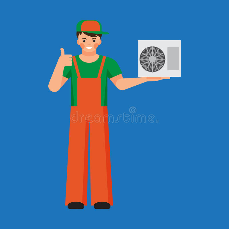 Reparo da unidade do condicionador de ar e conceito da instalação ilustração do vetor