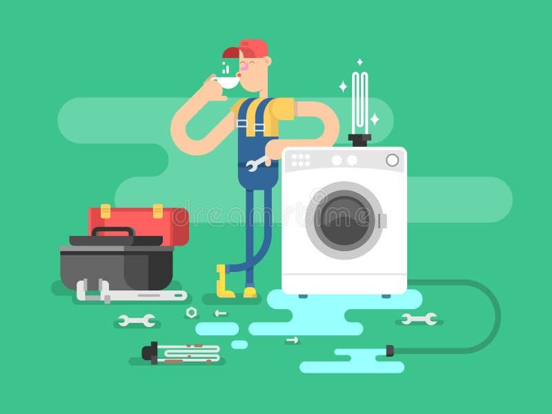 Reparo das máquinas de lavar ilustração do vetor