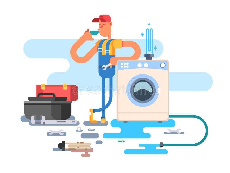 Reparo das máquinas de lavar ilustração stock