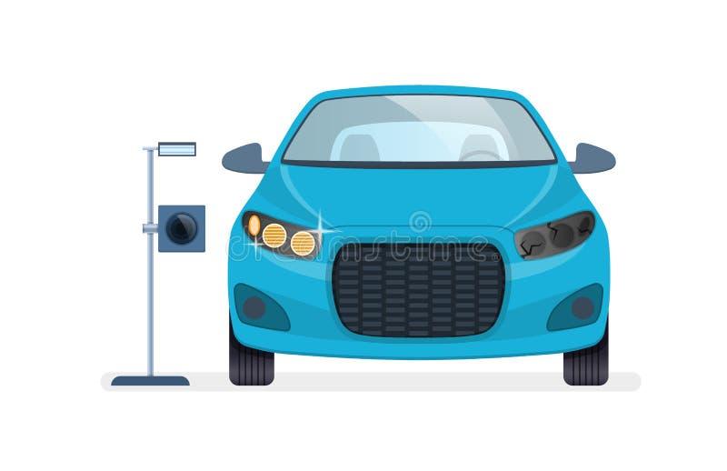 Reparo, diagnósticos e substituição dos faróis, iluminação, luzes de estacionamento ilustração royalty free