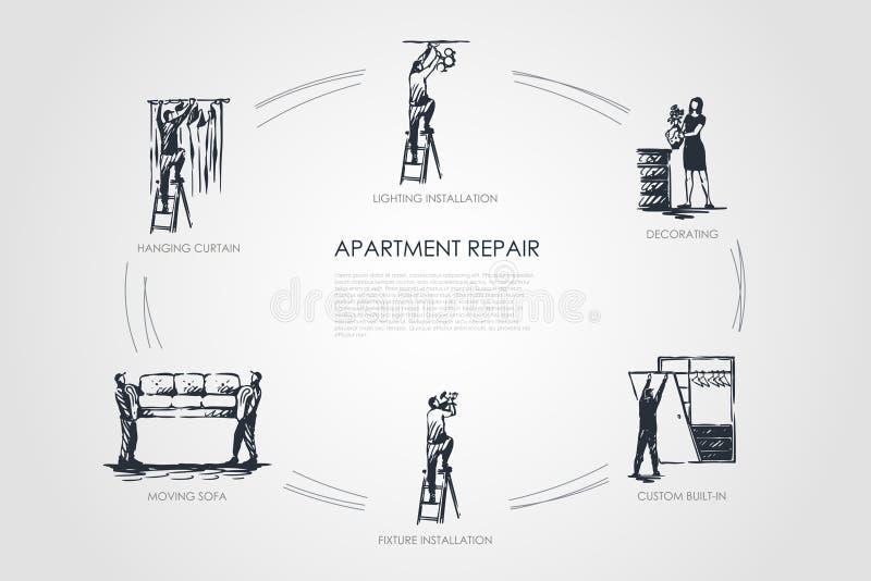 Reparo do apartamento - cortina de suspensão, sofá movente, a instalação do dispositivo elétrico, feito por encomenda - em, decor ilustração stock