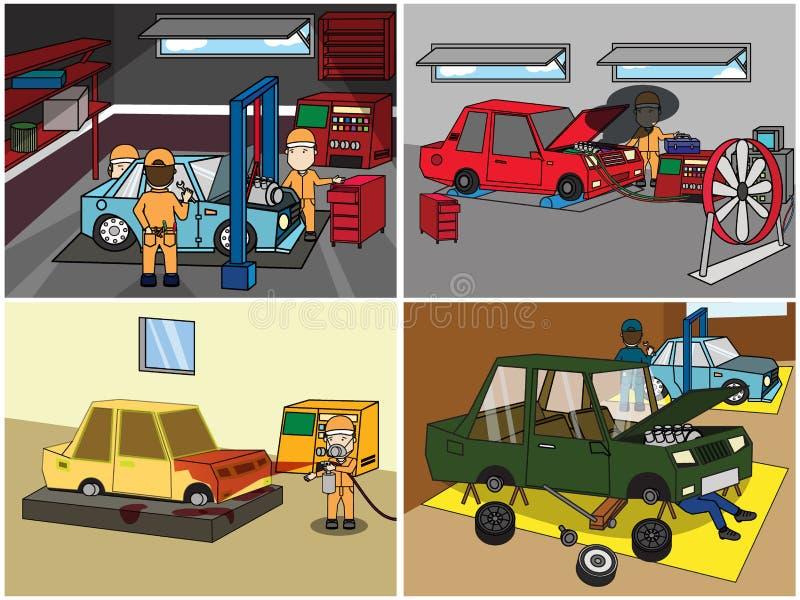 Reparo do auto mecânico e reparo e serviço s ilustração do vetor