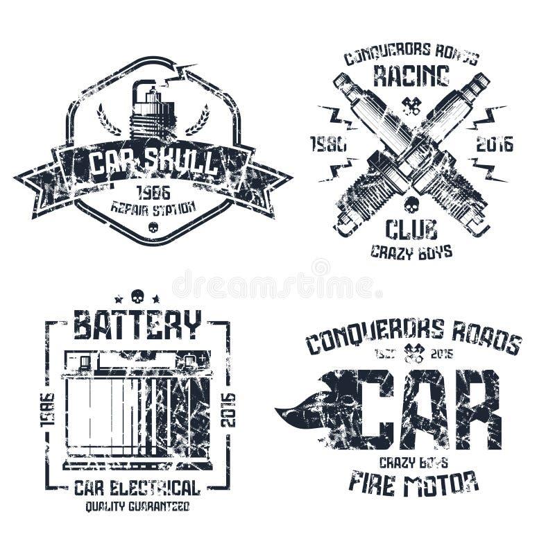 Reparo do carro e emblemas da competência ilustração stock
