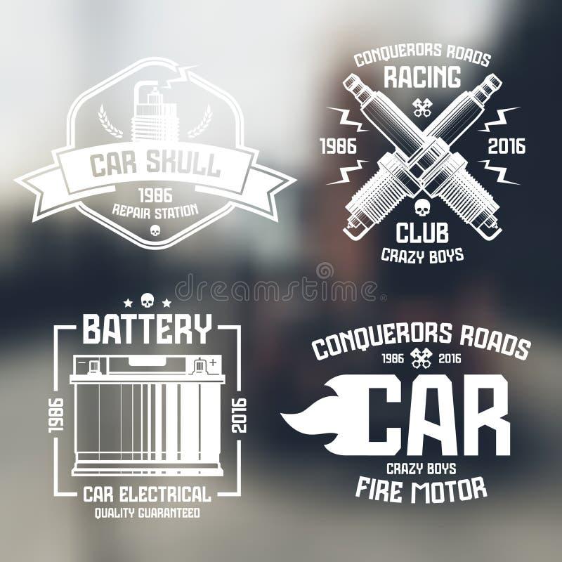 Reparo do carro e emblemas da competência ilustração do vetor