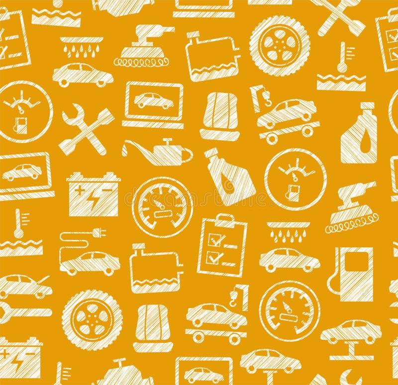 Reparo do carro e manutenção, teste padrão sem emenda, amarelo escuro, lápis que choca, vetor ilustração royalty free