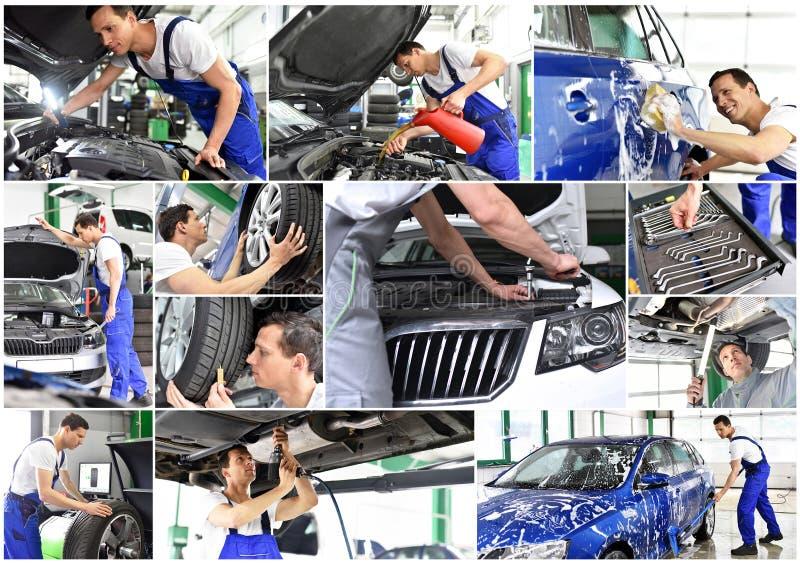 Reparo do carro - mecânico em uma oficina - lavagem de carros - colagem com di imagens de stock