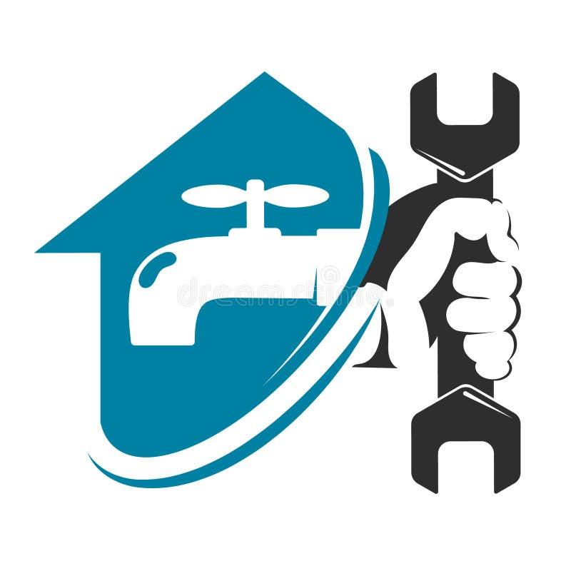 Reparo do encanamento do torneira e da casa de água ilustração stock