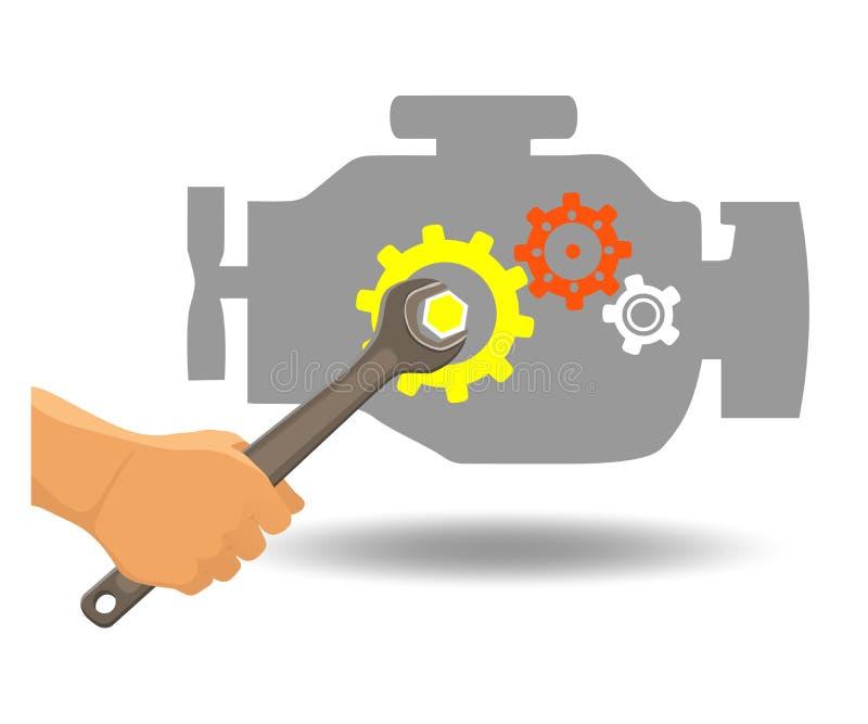 Reparo do motor de automóveis ilustração royalty free