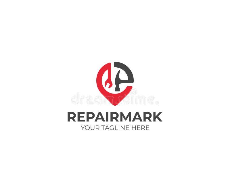 Reparo e construção Placemark Logo Template Projeto do vetor da chave e do martelo ilustração royalty free