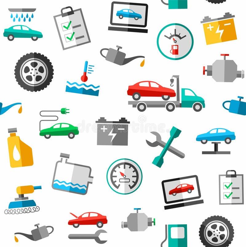Reparo e manutenção do carro, teste padrão sem emenda, cor, branca ilustração do vetor