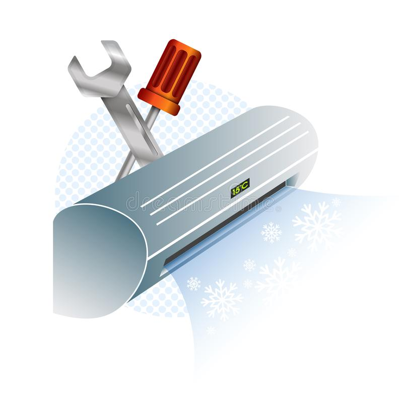Reparo e manutenção do condicionamento de ar ilustração royalty free
