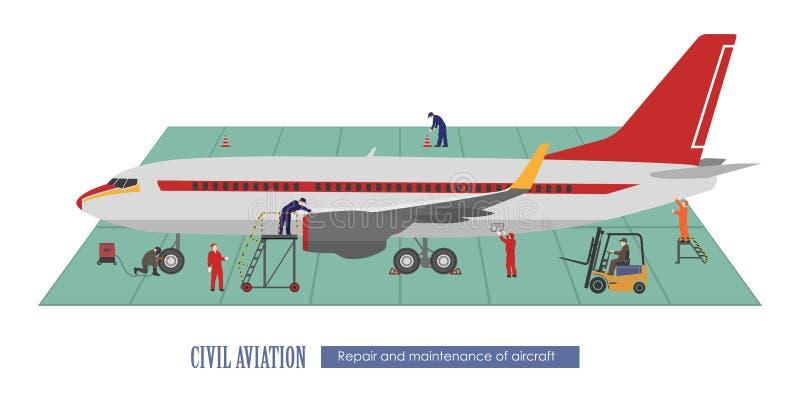 Reparo e manutenção dos aviões Avião e trabalho no ilustração stock