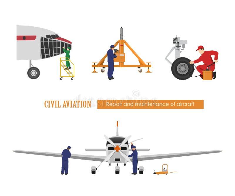 Reparo e manutenção dos aviões Coordenadores que reparam o avião Desenho industrial Hangar plano ilustração do vetor