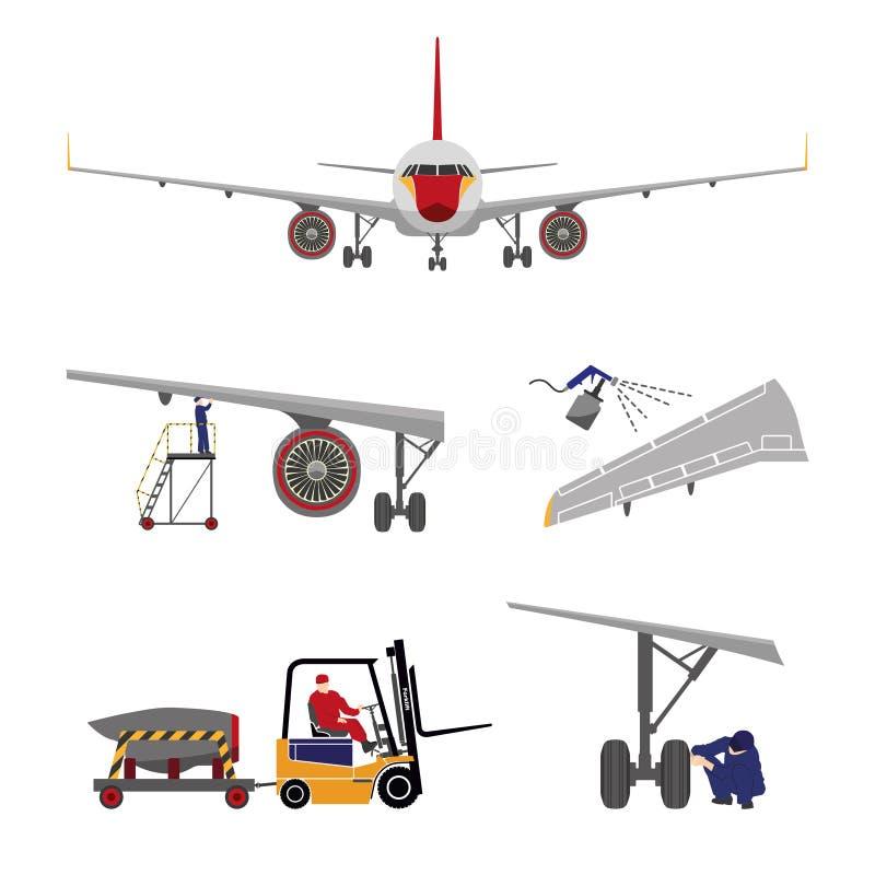 Reparo e manutenção dos aviões Grupo de peças dos aviões no fl ilustração royalty free