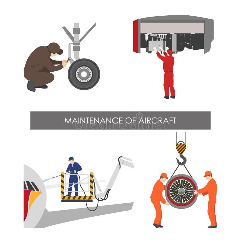 Reparo e manutenção dos aviões Grupo de peças dos aviões no fl ilustração do vetor
