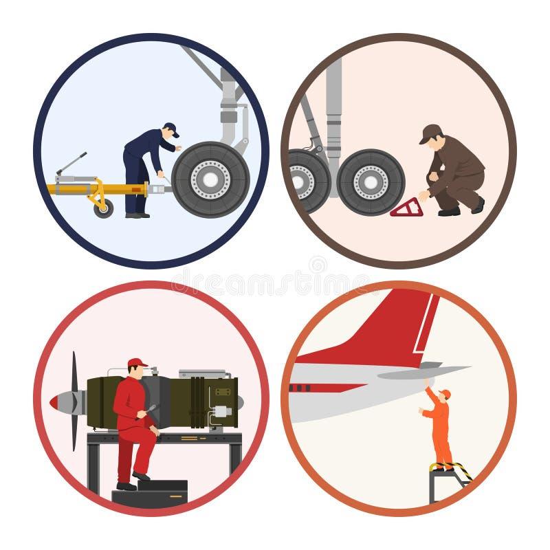 Reparo e manutenção dos aviões Imagem dos trabalhadores perto do ai ilustração stock