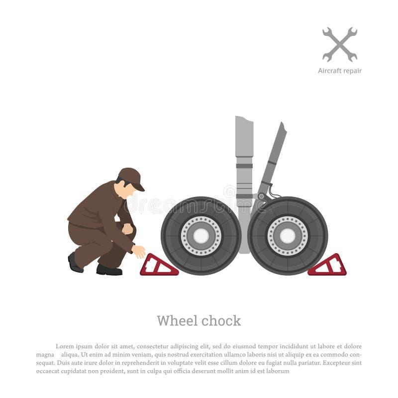 Reparo e manutenção dos aviões O mecânico põe uma roda ch ilustração stock