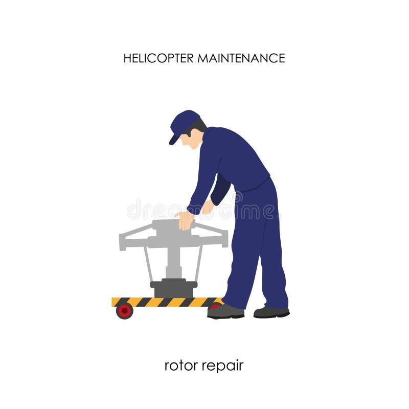 Reparo e manutenção dos helicópteros Reparo do rotor principal ilustração royalty free