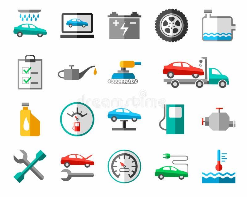 Reparo e manutenção dos veículos, ícones coloridos ilustração royalty free