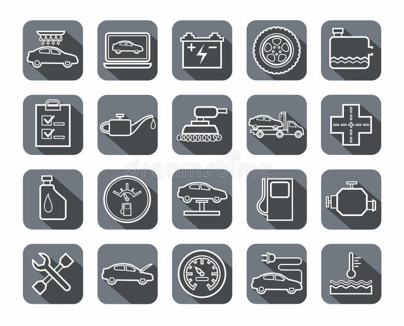 Reparo e manutenção dos veículos, ícones do contorno, cinzentos ilustração stock