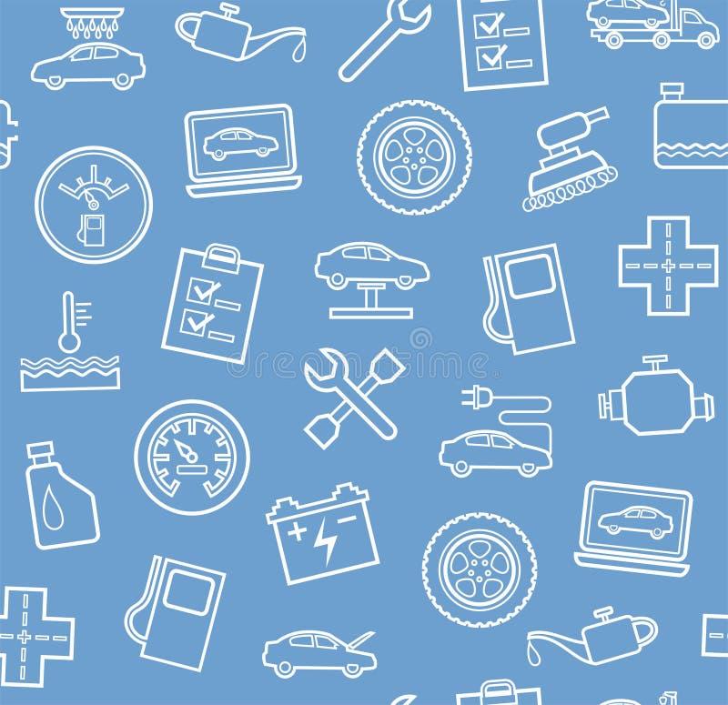 Reparo e manutenção dos veículos, fundo cinzento-azul sem emenda ilustração royalty free