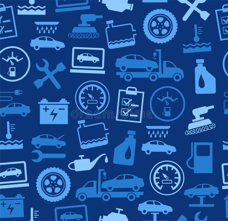 Reparo e manutenção dos veículos, fundo sem emenda, azul, colorido ilustração royalty free