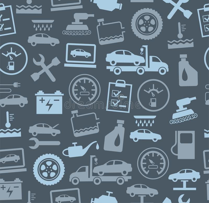 Reparo e manutenção dos veículos, fundo sem emenda, cinza, cor ilustração royalty free