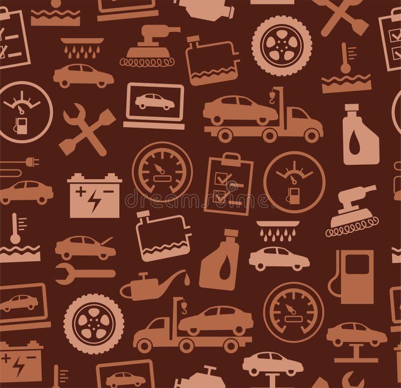 Reparo e manutenção dos veículos, teste padrão sem emenda, marrom ilustração do vetor