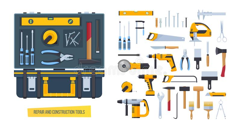 Reparo, ferramentas da construção Caso de trabalho com as ferramentas para medir, desmontando ilustração do vetor