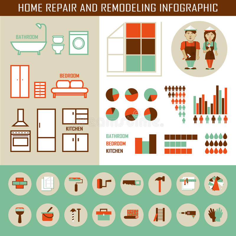 Reparo home e remodelação infographic ilustração stock