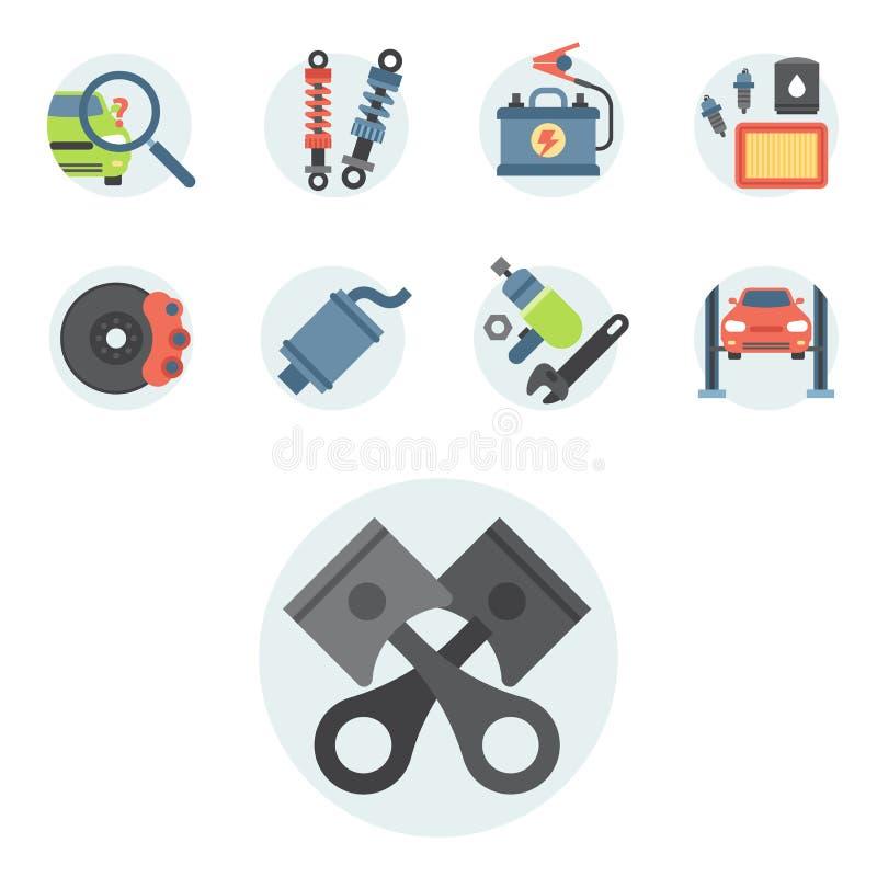 Reparo liso do auto mecânico da ilustração do vetor das peças de serviço do carro das máquinas e do equipamento do automóvel ilustração stock