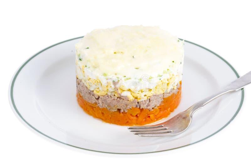 Reparta a salada mergulhada com peixes, cenouras e ovos imagem de stock royalty free