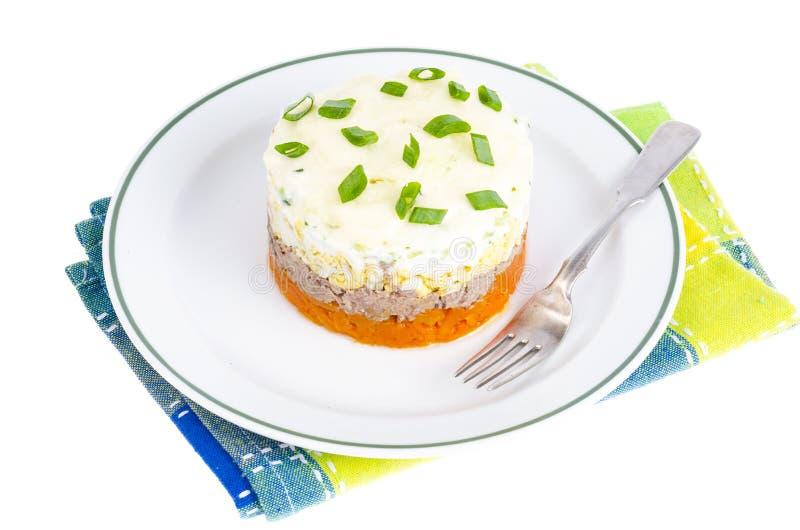 Reparta a salada mergulhada com peixes, cenouras e ovos fotos de stock