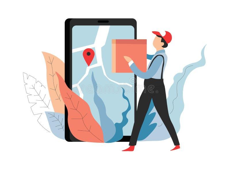 Repartidor en línea del orden del servicio de entrega que hace compras con el paquete ilustración del vector