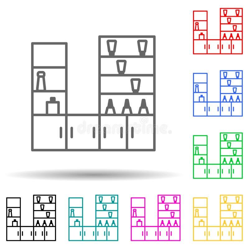 reparto di cosmetici icona in stile multicolore Linea sottile e semplice, struttura delle icone del centro commerciale per ui e u royalty illustrazione gratis