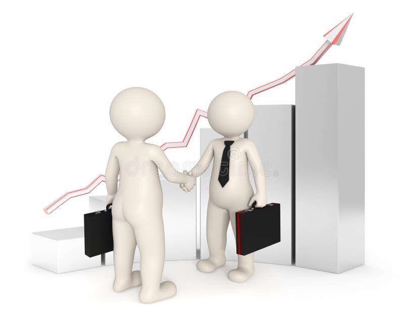 Reparto - hombres de negocios 3d que sacuden las manos - gráfico ilustración del vector