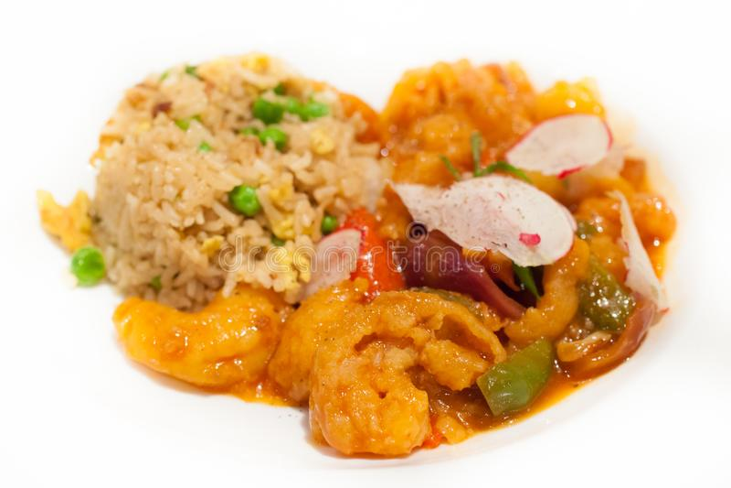 Repas asiatique de fruits de mer avec du riz photos libres de droits